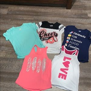 LOT OF 5 - 3 tees 2 tanks!! Justice and More!!